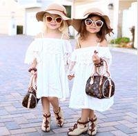 Wholesale Fresh Clothing - INS 2016 European Summer Children Girls Bohemia Off Shoulder Lace Dresses Princess Flowers Fresh Dress Clothing White K7504