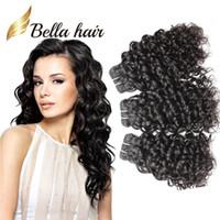 14 inç örgü boyu brezilya toptan satış-Bella Hair® 8A Mix Uzunluk 8 ~ 30 inç Brezilyalı Saç Uzantıları Doğal Renk 3 adet / grup İnsan Saç Su Dalgası Saç Örgüleri 300 g / grup