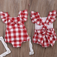 Wholesale Kid Girls Fashion Tops - hot sale red girl's rompers 2016 Newborn Infant children Baby Girls Clothes Plaids Checks fashion bowknot Jumpsuit kids girl top Bodysuit