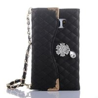 Wholesale Handbag For Mobile Phone Cases - Luxury Leather Trifod Purse Wallet Cover Case for Samsung Galaxy S7 Edge Women Handbag Crystal Diamond Flower Mobile Phone Case