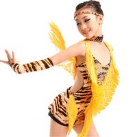 Robe de danse de danse aux filles Tiger / Leopard / Zebra Grain Children Latin Ballroom Robes de danse Red / Yellow / White Costumes de scène Tassel