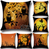Wholesale Ant House - Night Owl Bat Terrorist House Giant Ants Halloween Element Pillow Cases Home Decorative Cushion Cover Festival Gift YLCM
