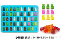 Wholesale Gummy Candies - 50 Cavity Silicone Gummy Bear Chocolate Mold Candy Maker Ice Tray Jelly Moulds with free dropper