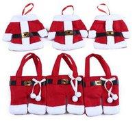 ingrosso vestiti di colore rosso-2016 Hot s Indoor Decorazioni natalizie colore rosso vestito di Natale ClothPants Borsa da tavola (12 pezzi / lotto, 6 vestiti 6 pantaloni)
