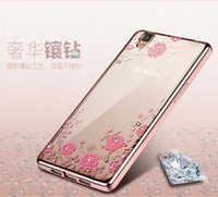 Wholesale Oppo Case Metal - Plating Soft TPU Case For Iphone 7 Plus 8 OPPO R9 Huawei P8 P9 Lite 6 7 8 5A 5C 5X Diamond Bling Secret Garden Flower Butterfly Skin Cover