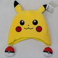 Wholesale Anime Pikachu Hat - 2016 Hot Popular Cartoon Poke mon Pikachu Baseball Caps Cute Pokeball Anime hats Cosplay Anime ball caps Funny Pikachu Snapback Caps