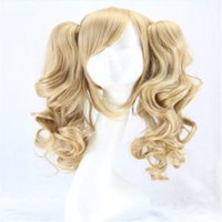 Wholesale Blonde Long Cosplay Wig Ponytail - long lolita wig ponytail heat resistant wavy synthetic wigs curly blonde 2 ponytail anime wig cosplay hair wigs for women 45cm