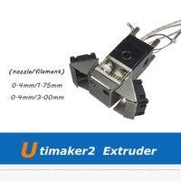 ultimaker memesi toptan satış-3D Yazıcı Aksesuarları Ultimaker 2 3D Yazıcı 0.4mm Memesi ile Montajlı Extruder Seti UM2 Baskı Kafası Set