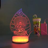 Wholesale Decorative Mushrooms - Hot Sale Magical Optical Illusion 3D Hello Kitty USB Optical Illusion LED Night Light Desk Table Lamp Various shape Decorative Lamp