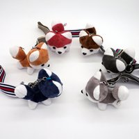 Wholesale Push Keychain - Wholesale Husky Keychain Push Dog Toy Keychains Pompom Doll Keyring Women Bag Charm Ribbon Key Chain Jewelry Chaveiro Gift