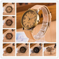 Wholesale Popular Grains - Watches Luxury Watches Fashion Wood Grain Leather Brand Popular Women Men Watch Casual Quartz Watches High Quality Watch 6 Colors 313