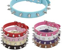 Wholesale spiked dog collars medium for sale - Group buy 2017 New row spike Studded Leather Dog Collar Colourful Rolled Puppy Dog Collars For Small Medium Dogs
