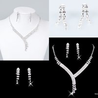 Wholesale Discounted Bridal - Discount Bridal Jewelry Crystal Rhinestones Bride Prom Wedding Jewellery Sets 2015 Necklace Drop Earrings Bridal Accessories 15023