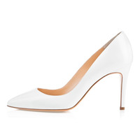 Wholesale ladies french dresses - Karmran Womens Ladies Handmade Fashion Brand Bigalle 85mm French Style Simple Office Party Pumps Shoes White