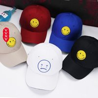 Wholesale Leisure Caps Hats - South Korea faces crying face white all-match leisure summer baseball hat peaked cap spring tide and the couple hat
