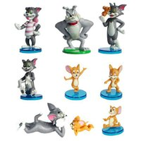 Wholesale Finish Cat - 9pcs set 3-8cm Anime Cartoon Tom And Jerry PVC Action Figures Cat And Mouse Models Gift For Kids