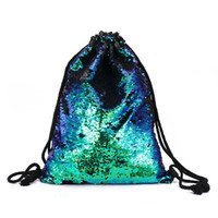 Wholesale Sequins Women Backpack Causal Drawstring Bag Cotton School Bag For Teenager Girls Summer Beach Bag female Shoulder Handbag Causal Daypack