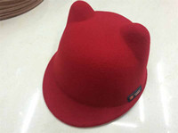 Wholesale Cat Ear Fedora - 51-52cm Wool Girls Fedora Hat Winter Devil Horns Cute Cat Ear Animal Bowler Cap For Childrend Gift 8colors