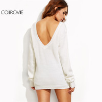 COLROVIE Basic V Back Sweater White Solid Pullover Women Drop Shoulder Loose Jumper 2017 Весна Осень Лодка Шея Повседневный свитер q1113
