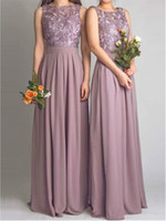 Wholesale Inexpensive White Long Dresses - Free Shipping Modest Vintage Lavender Long Lace Backless Inexpensive Bridesmaid Dresses Women Gowns with Flowing Chiffon