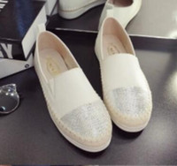 Slip-On black leather couches - Straw fisherman shoes female leather couch potato flat shoes casual shoes