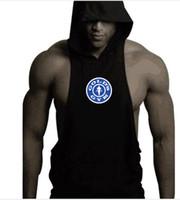 Wholesale Mens Long Running Shirt - Mens Summer Novelty Print Sports Gym Hooded Tank Tops For Men Fashion Running Cotton Fitness Hooded Sleeveless Vest Undershirt T-Shirts