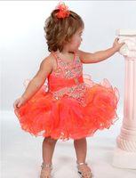 Wholesale Halter Neck Rhinestone Wedding Dresses - Toddler Glitz Pageant Dresses 2017 with Beaded Halter Neck and Tutu Skirt Orange Girls Christmas Dresses Custom Made