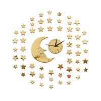 Wholesale Black Star Decal - Moon Stars Wall Black Clock 3D Wall Mirror Sticker Clock Watch Mirror Stickers Home Decor Decals Wall Clock Fashion Design