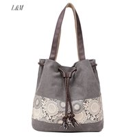 Handled spanish beach - Women Floral Canvas Bucket Casual Shoulder Bag Spanish Beach Bags Women String Shopping Handbags Lace Printing Bag Female Bolso