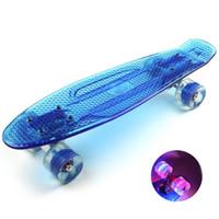 Wholesale Transparent Cruiser Board - Wholesale-Fashion Skateboard Women Men Transparent Skateboard Colorful Flashing Wheel Cruiser Skate Board Street Outdoor Sports