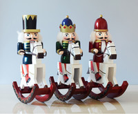 Wholesale Mascot Soldier - Wooden horse nutcracker soldiers H30cm Christmas home decoration the nutcrackers mascot wooden toy gift for children kid