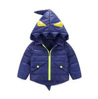 Wholesale Little Boys Winter Coats - XZ47 Kid Child Winter Warm Zipper Down Coat Boy Hooded Down Coat Winter kids outwear Cartoon Little Monster warm Down Coat