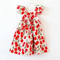 Wholesale Chic Baby Clothes - Chic Girls big Cherry print dress 2016 Summer Backless Dress fruit Printed Baby Dress Flutter Sleeve Clothes 3colors 5size