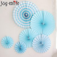 Gioia-Vita 6Pcs / Lot Fan di carta di fiori Artigianato del tessuto Decorazione Baby Shower Wedding Birthday Party Decoration Home Paper Fan
