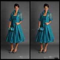 Wholesale teal mother bride - Elegant A Line Plus Size Short Mother of The Bride Dresses 2018 Jacket Teal Length Suits Evening Gowns Cheap Organza