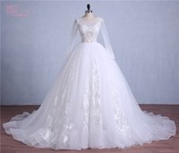Wholesale Tulle Dot Ball Gown Wedding - Plus Size Long Sleeves Wedding Gowns 2017 Sheer Scoop Neck Lace Appliques Polka Dot Ball Gown Wedding Dresses 2016 Hot Bridal Gowns