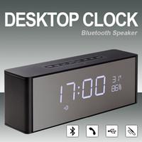 Wholesale Portable Desktop Clock - Bluetooth Desktop Clock Speaker Desktop Portable Alarm Time Clock Wireless Speakers Portable Audio Player FM Radio