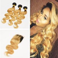 Wholesale Two Tone Peruvian Body Wave - 9A Ombre Peruvian Hair Body Wave With Closure Two Tone 1B 27 Honey Blonde Dark Roots Ombre Human Hair Bundles With Lace Closure