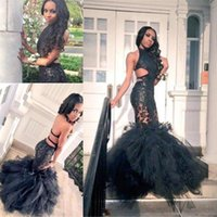 Wholesale multi color pictures - Sexy Black Color Evening Dresses Floor Length Tulle Prom Dresses Halter Neck Pleats Special Occasion Dress Formal Gowns