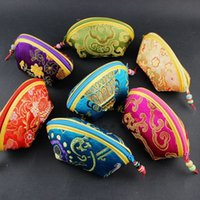 Wholesale Cheap Seashell Jewelry - Cute Cheap Small Seashell Gift Bag Zipper Silk Brocade Jewelry Storage Pouch Wedding Party Candy Favor Bags Fashion Coin Purse Cloth Package