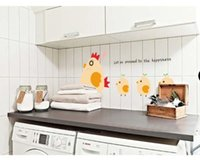Wholesale Chicken Wall Decal - Cartoon Cute Chickens Line Removable Wall Sticker Baby Bedroom Decal Home Decor for kids rooms