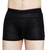 Wholesale black silk boxers - Free Shipping Pure Silk Knitted Men's Wide Waistband Briefs Solid US S M L XL XXL