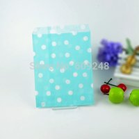 Wholesale Blue Treat Bags - 100pcs Mixed Colors Personalized Favor Buffet Light Blue Paper Party Candy Treat Bags Small Tiny Polka Dot
