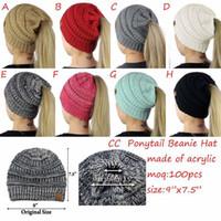 Wholesale Cut Cap Hat - 8 Colors Women CC Ponytail Caps CC Knitted Beanie Fashion Girls Winter Warm Hat Back Hole Pony Tail Autumn Casual Beanies CCA7235 20pcs