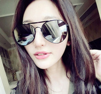 Wholesale Over Sized Sunglasses - 2016 Brand Design Women Round Over Size Sunglasses Men Retro Reflective Color Sun Glasses 8Colors 10PCs Lot Free Shipping
