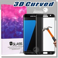 Wholesale S5 3d - 0.2MM S7 Edge s6 edge 3D curve Screen Protector Tempered glass Full Cover Curved Glass 9H Hardness With Retailbox For S7 Edge