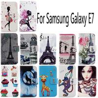 samsung galaxy e7 ledertasche großhandel-Für Samsung Galaxy E7 Mode Schutzhülle Haut Tasche mit Kartensteckplatz PU Ledertasche Telefon Fall