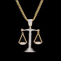 libra colares venda por atacado-Iced Out Balança de Zircônio Balança Escala Pingente de Prata Ouro Material de Cobre Mens Hip hop Pingente de Colar de Corrente