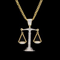 Wholesale Libra Chain - Iced Out Zircon Balance Libra Scale Pendant Bling Charm White Gold Copper Material Mens Hip hop Pendant Necklace Chain