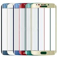 funda de galaxy s5 gold al por mayor-Para Samsung S 6 Edge Colorido cubierta completa Vidrio templado Película Protector de pantalla para Samsung Galaxy S6 Edge G9250 Color oro Negro